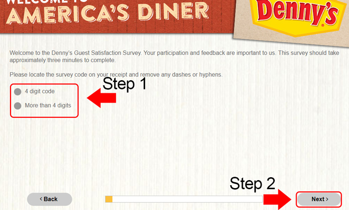 dennys survey code