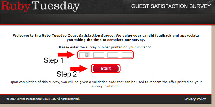 ruby tuesday survey page