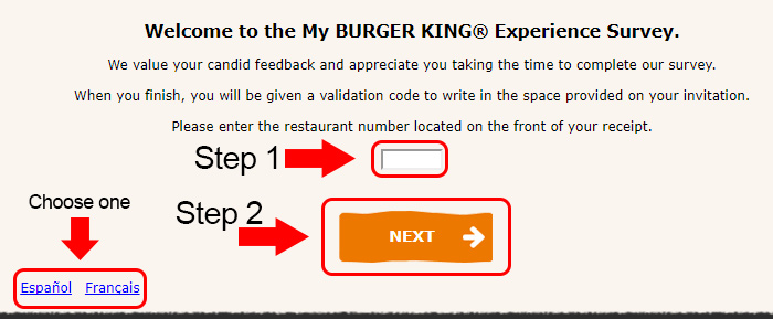 burger king survey page