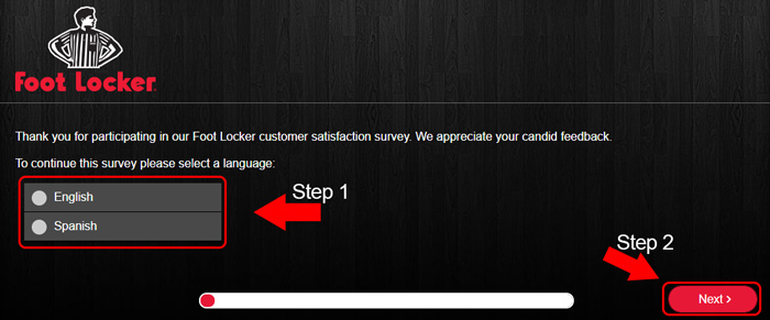 foot locker survey language