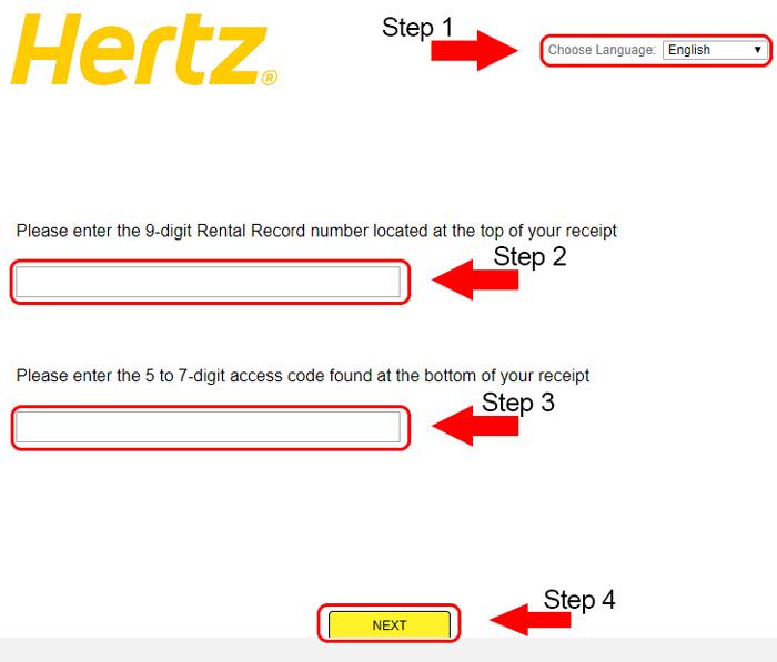 hertz survey landing page