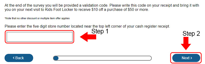 kids foot locker survey receipt validation