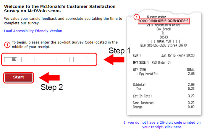 first page of mcdonalds survey