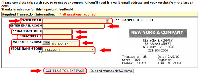 new york and company receipt survey page