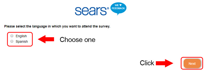 sears survey page
