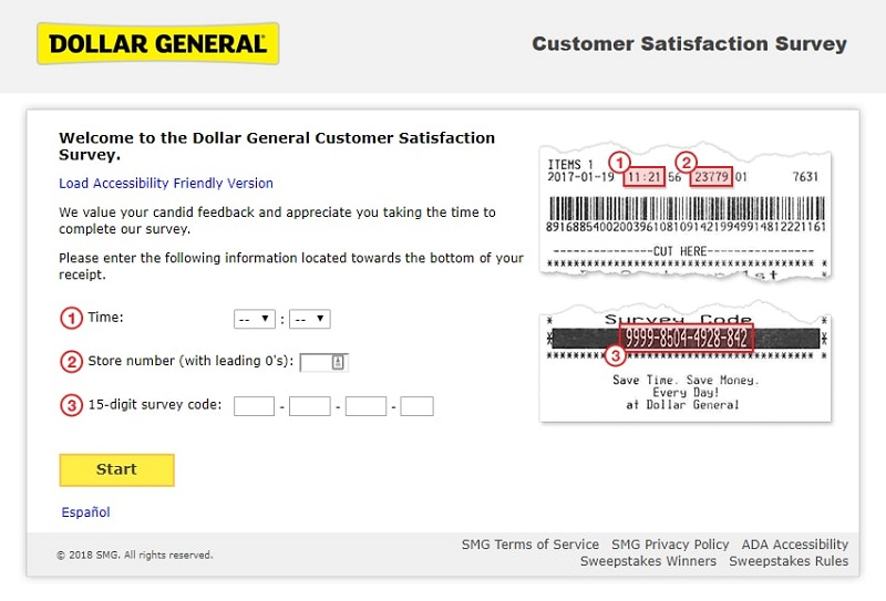dollar general survey screenshot