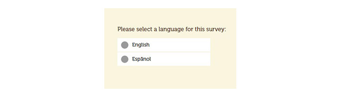Pollo Campero Survey language select